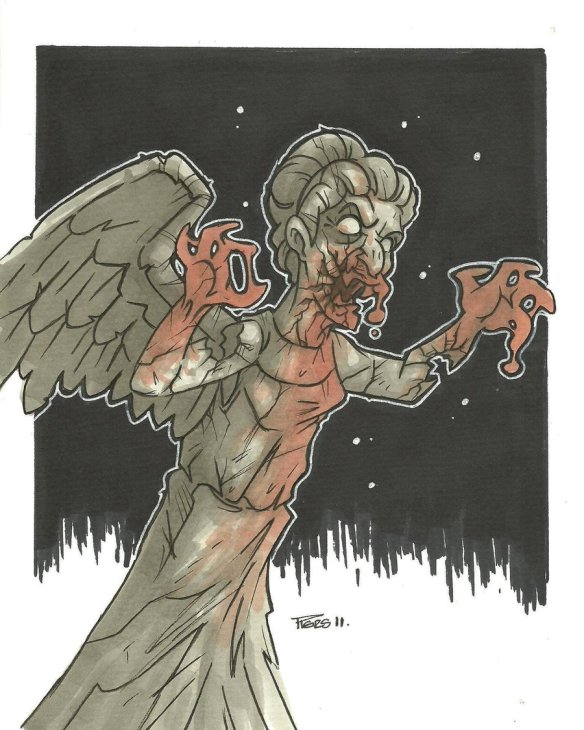 Weeping Angel Zombie Variant by Piers Hazell