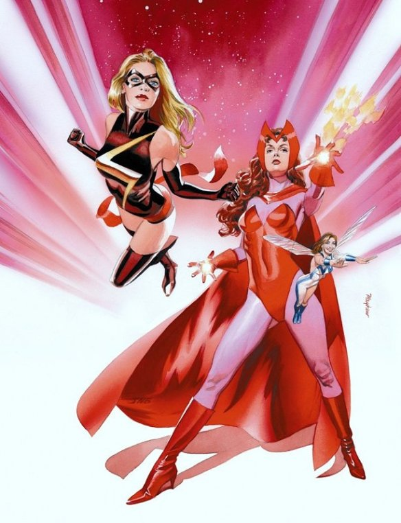 Scarlet Witch and Ms Marvel by Mike Mayhew. ROUGH STUFF #8 cover. April, 2008