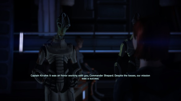 Kirrahe aboard the Normandy after Virmire mission, Mass Effect